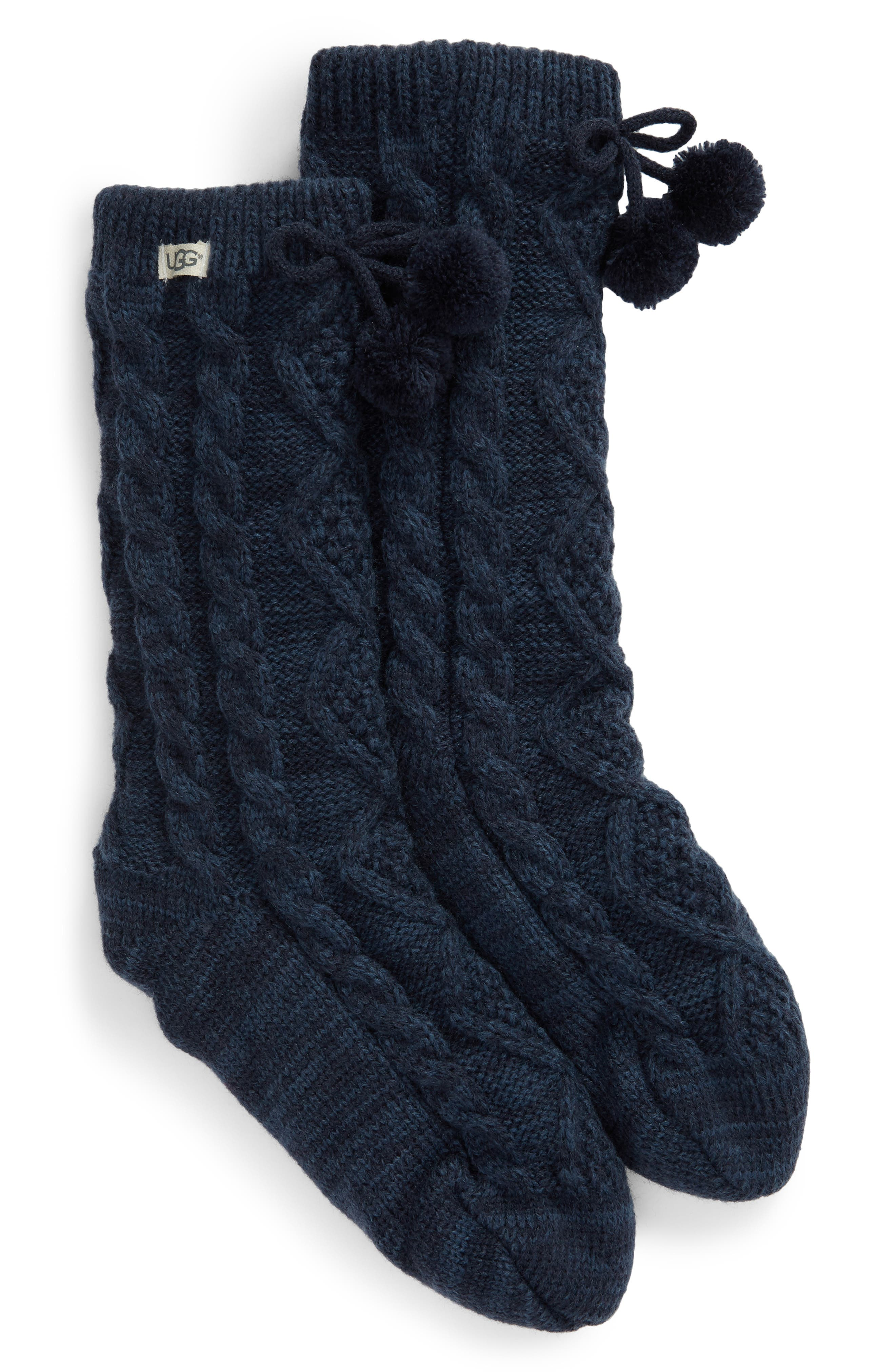 Fleece Lined Socks, Main, color, NAVY