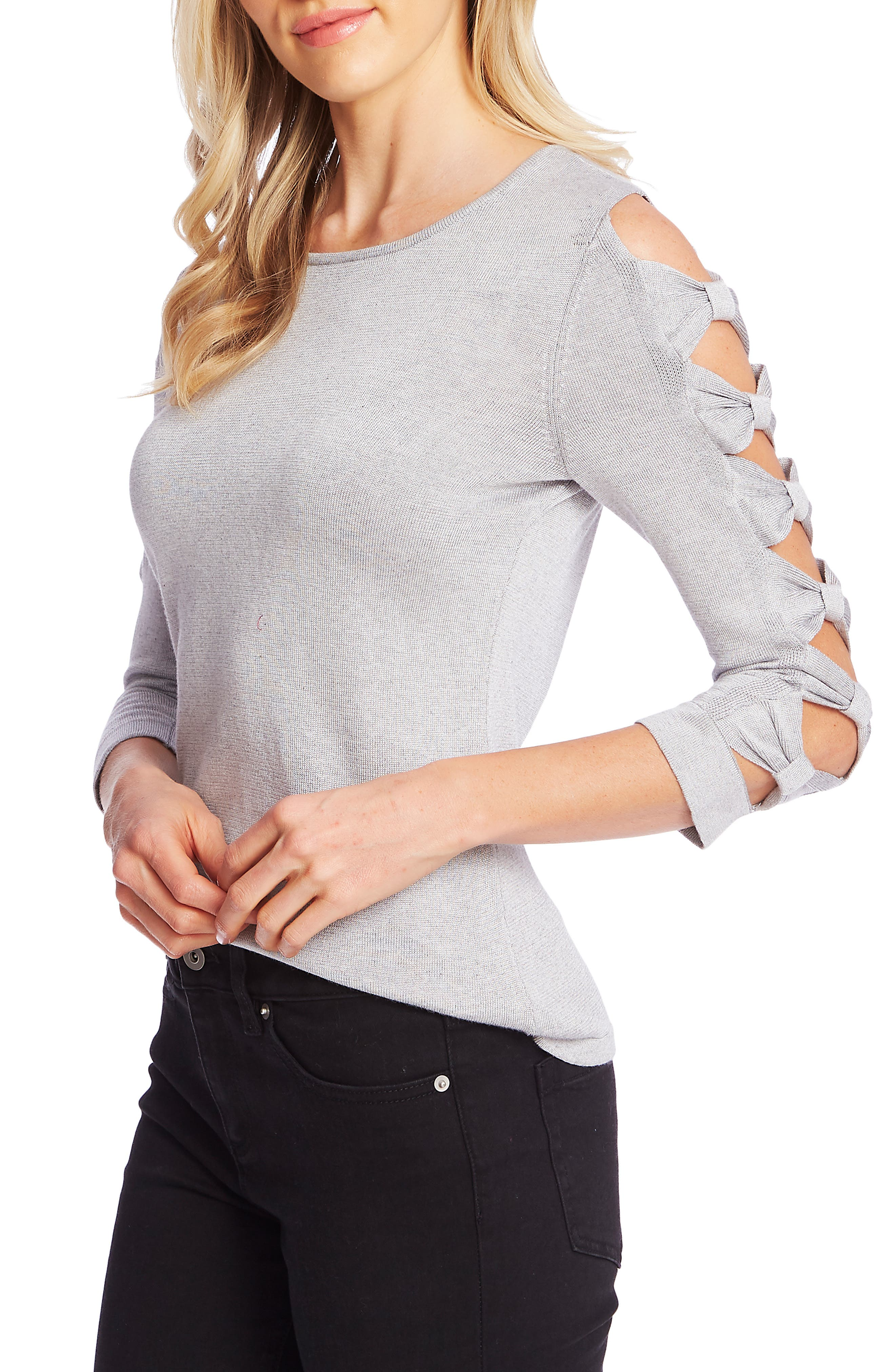 Image of CeCe by Cynthia Steffe Crew Neck Bow Sleeve Sweater