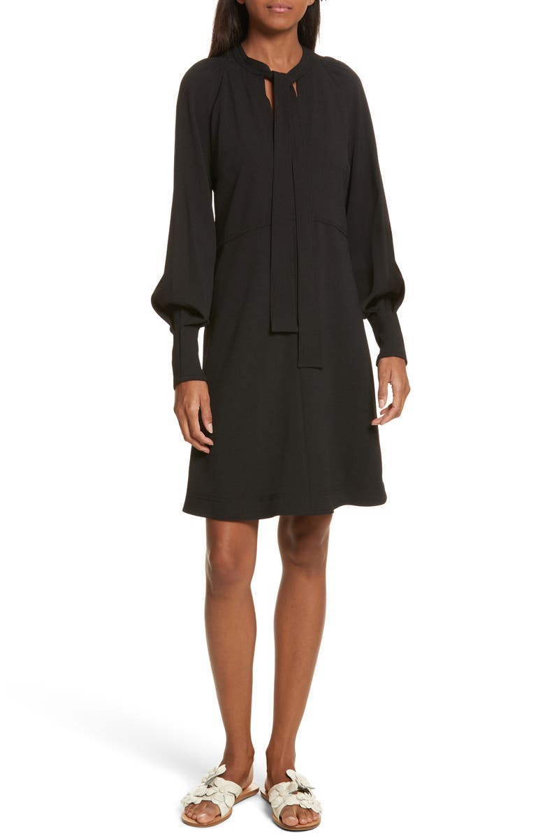 SEE BY CHLOÉ Crepe Tie Neck Dress, Main, color, 001
