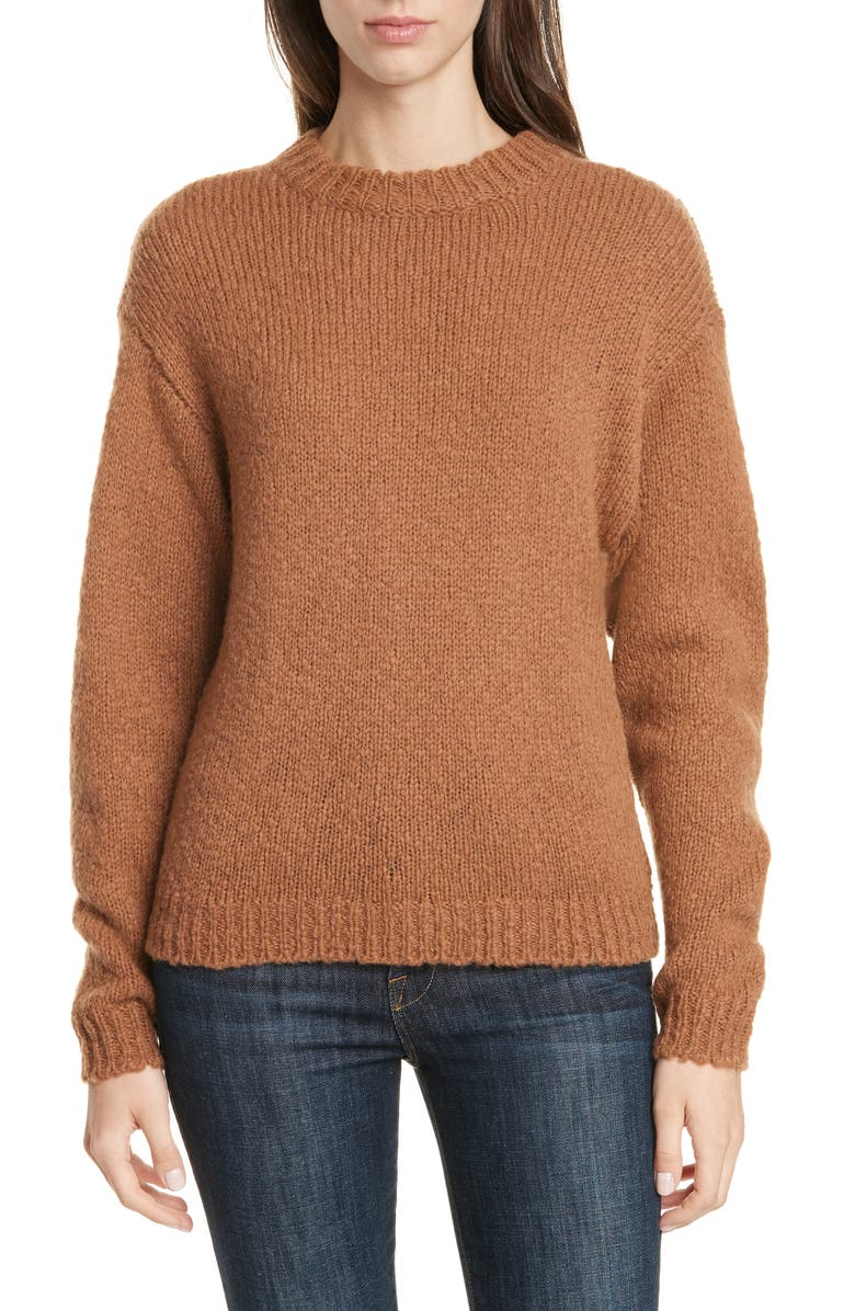 LEWIT Crewneck Sweater, Main, color, BROWN CAROB