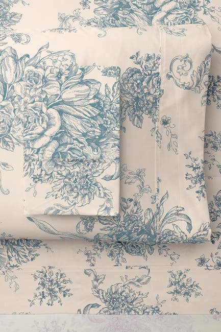 Image of Melange Home King 400 Thread Count Cotton Toile Sheet 4-Piece Set