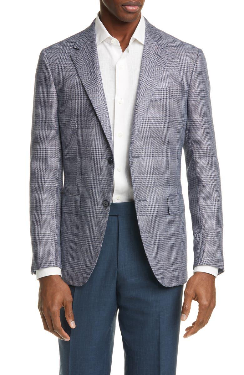 ERMENEGILDO ZEGNA Milano Easy Classic Fit Plaid Silk Blend Sport Coat, Main, color, BLUE