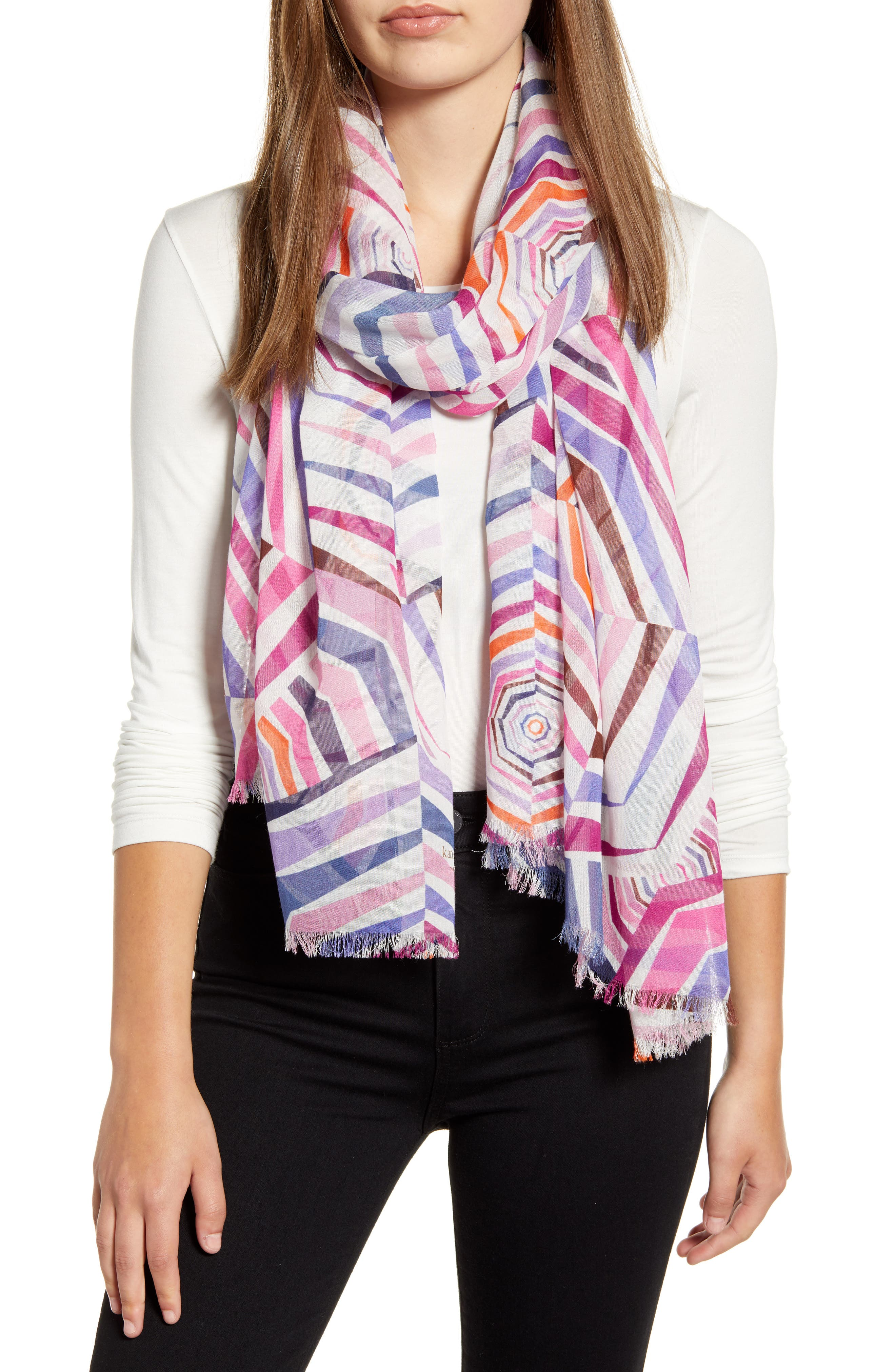 ,                             geobrella print fringe scarf,                             Main thumbnail 1, color,                             FRENCH CREAM
