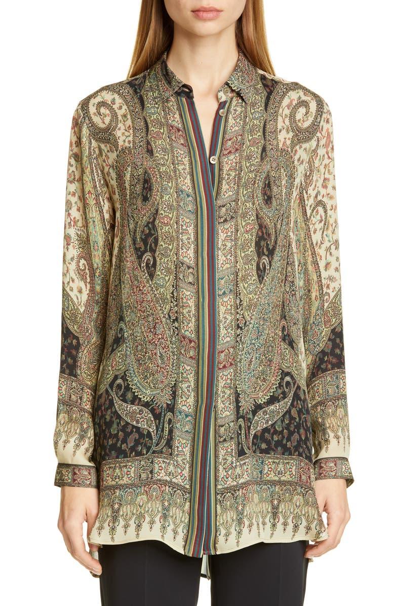 ETRO Paisley Print Silk Blouse, Main, color, MULTI