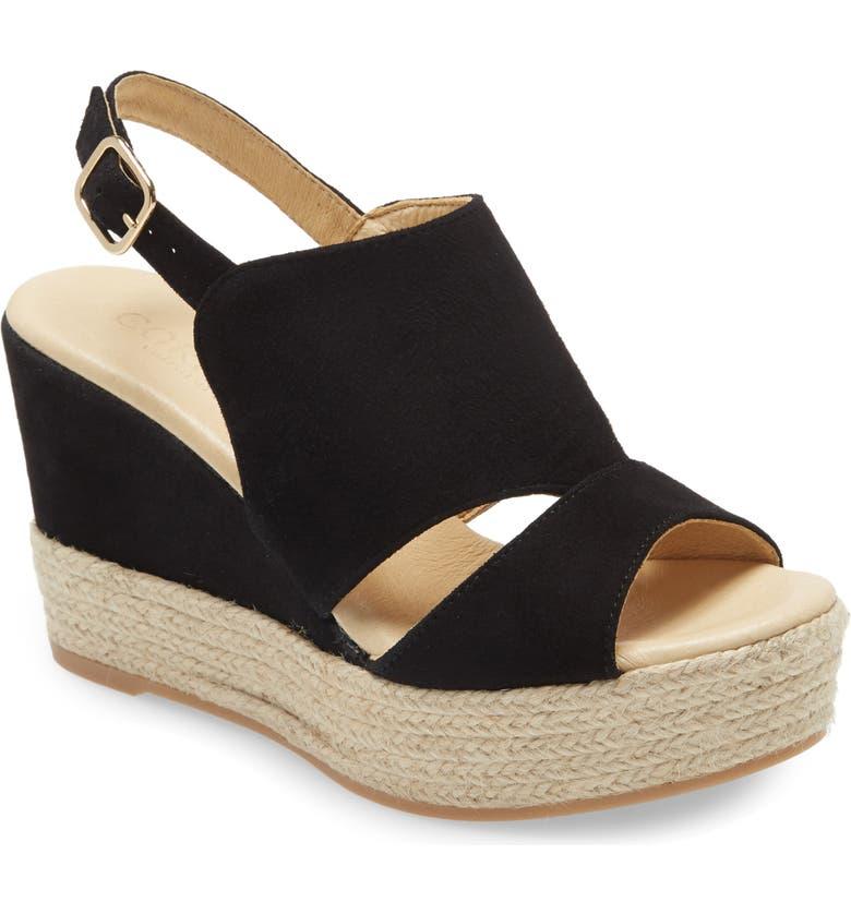 CORDANI Elenor Espadrille Wedge Sandal, Main, color, BLACK SUEDE