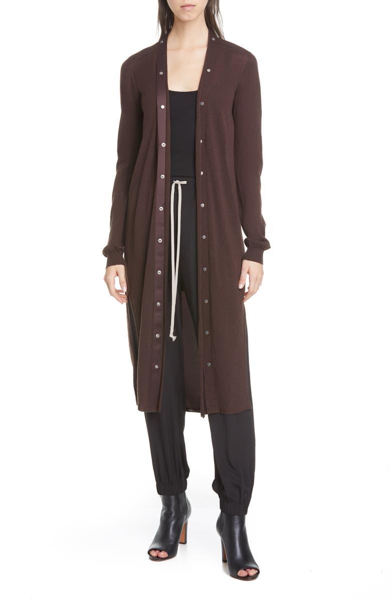 RICK OWENS Long Wool Snap Cardigan, Main, color, BRONZE
