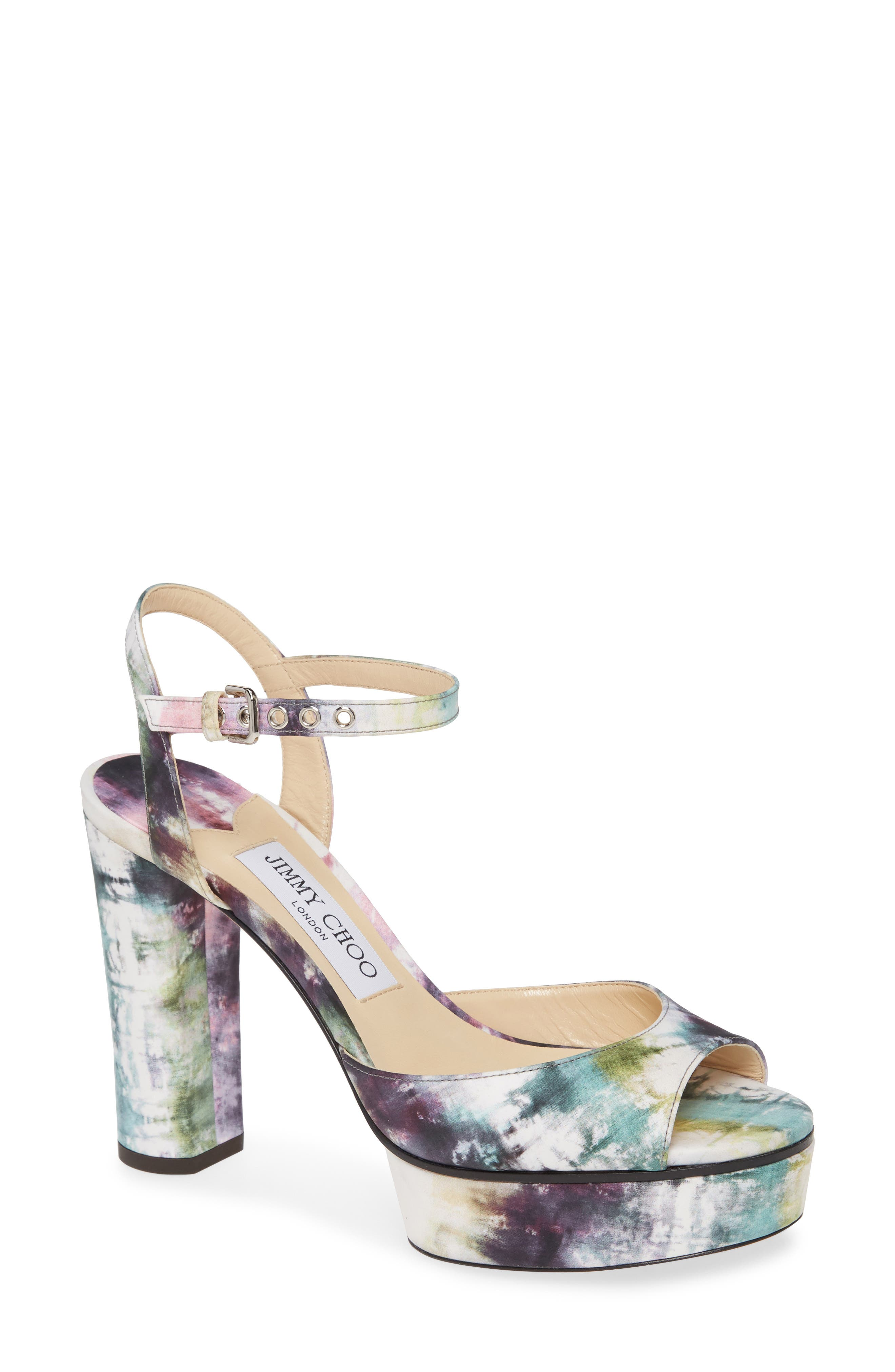Eye-catching glamour and dynamic retro style merge in a lofty platform sandal in a dreamy watercolor print. Style Name: Jimmy Choo Peachy Tie Dye Platform Sandal (Women). Style Number: 5943566. Available in stores.