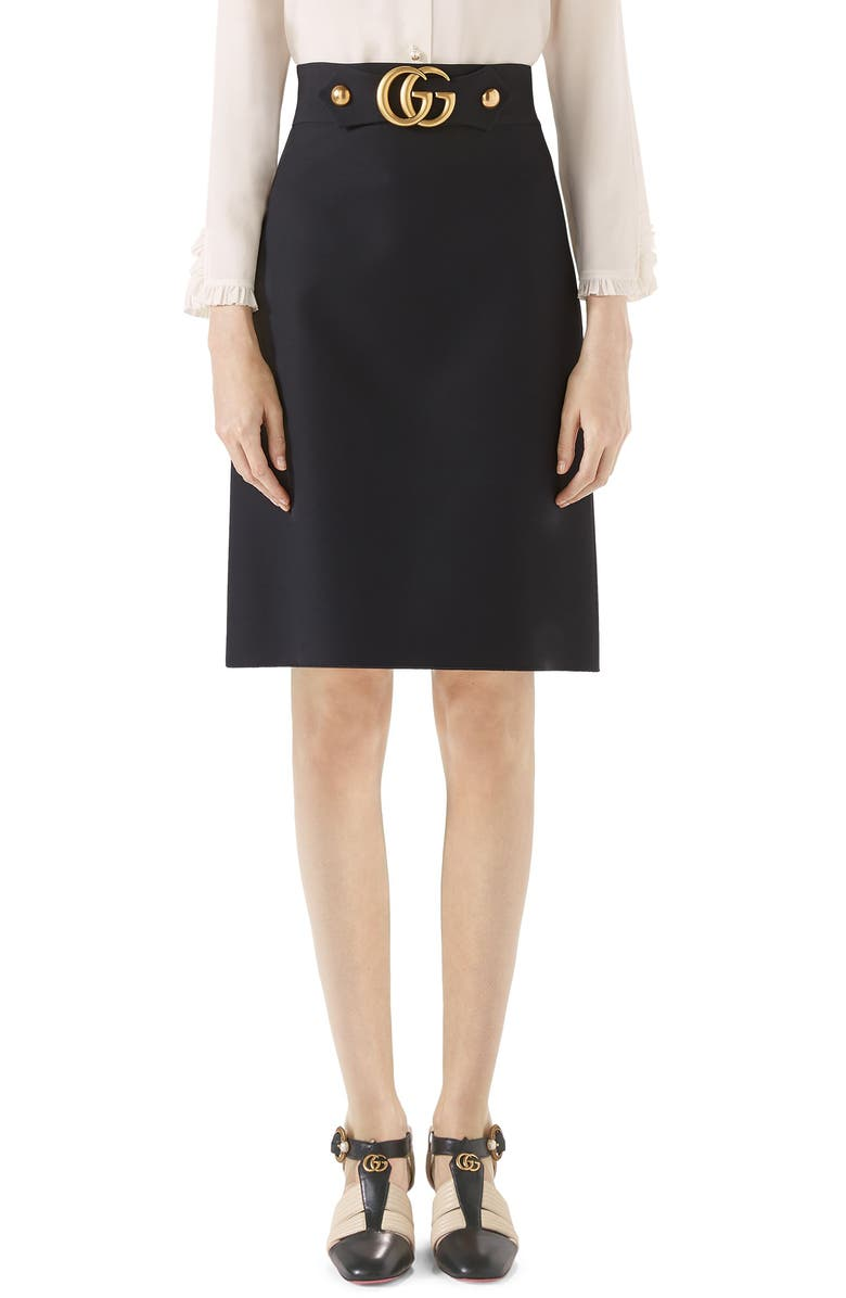 GUCCI Double G Wool & Silk Crepe A-Line Skirt, Main, color, BLACK