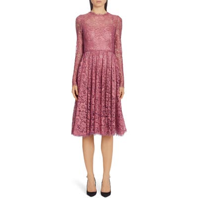 Dolce & gabbana Lame Long Sleeve Chantilly Lace Dress, US / 40 IT - Pink