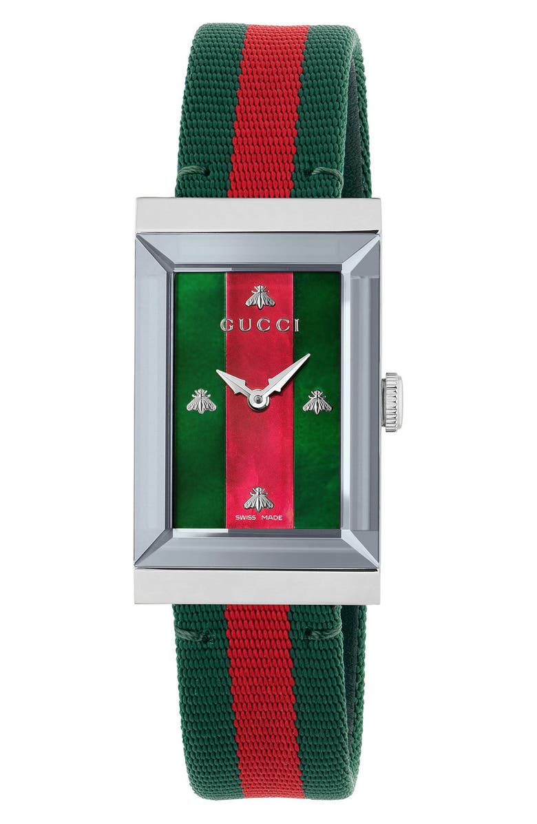 GUCCI G-Frame Nylon Strap Watch, 21mm x 34mm, Main, color, GREEN/ RED/ SILVER