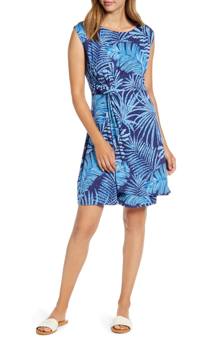 TOMMY BAHAMA Through the Fronds Side Twist Sleeveless Dress, Main, color, ISLAND NAVY