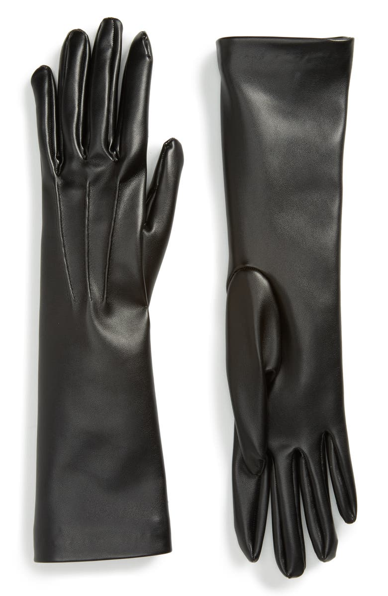 STELLA MCCARTNEY Faux Leather Gloves, Main, color, 001