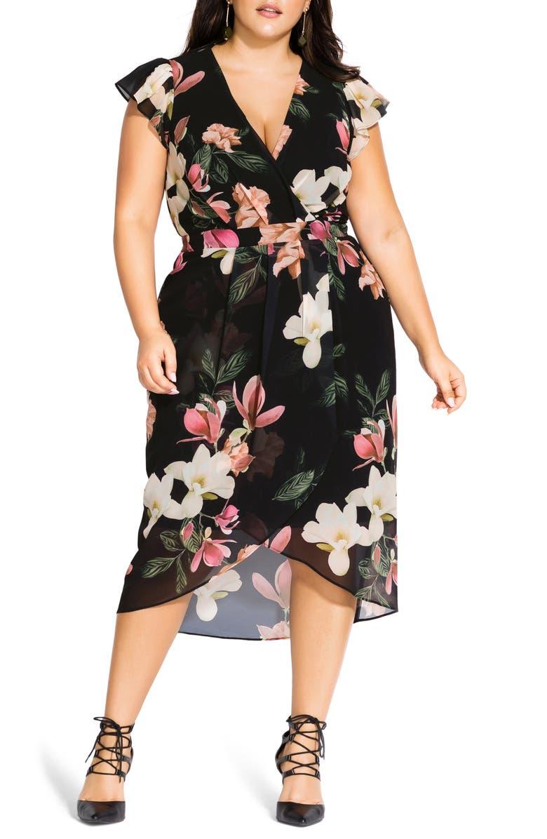 CITY CHIC Floral Faux Wrap Dress, Main, color, WINTER JASMINE