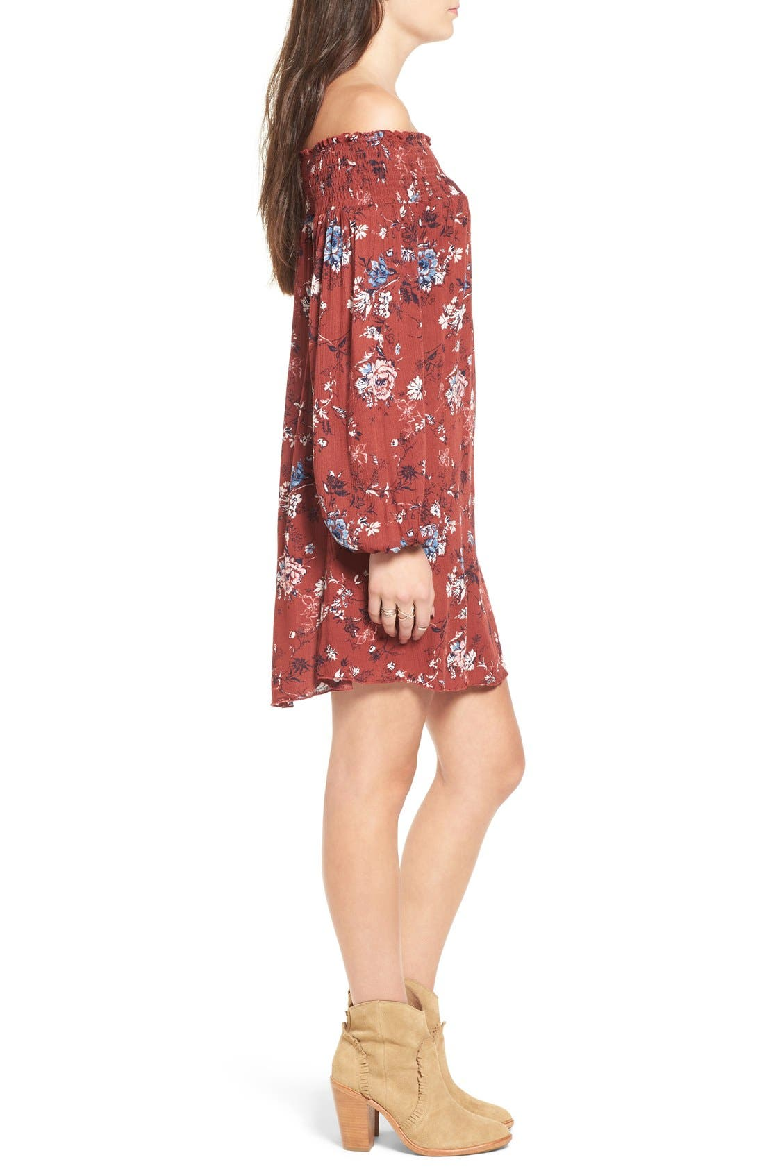 ,                             Floral Print Off the Shoulder Shift Dress,                             Alternate thumbnail 7, color,                             200
