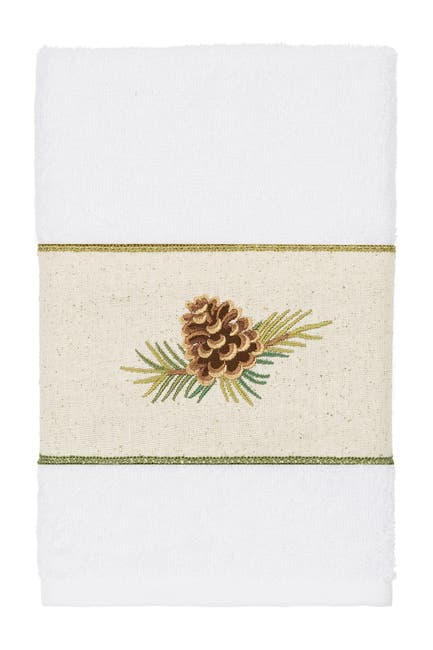 Image of LINUM HOME Pierre Embellished Hand Towel - White