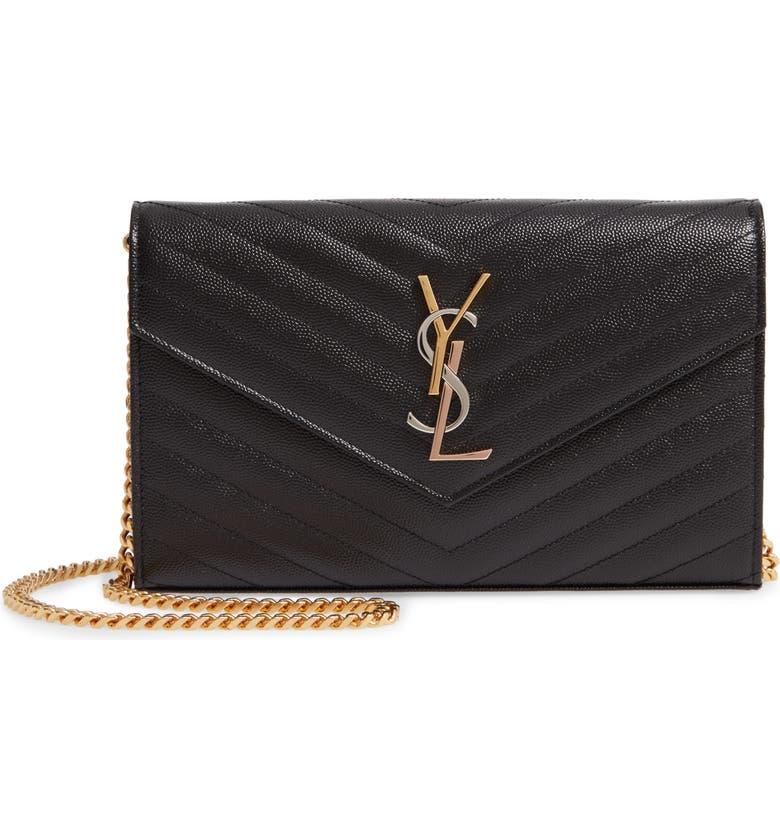 SAINT LAURENT Monogram Pebbled Leather Wallet on a Chain, Main, color, NOIR
