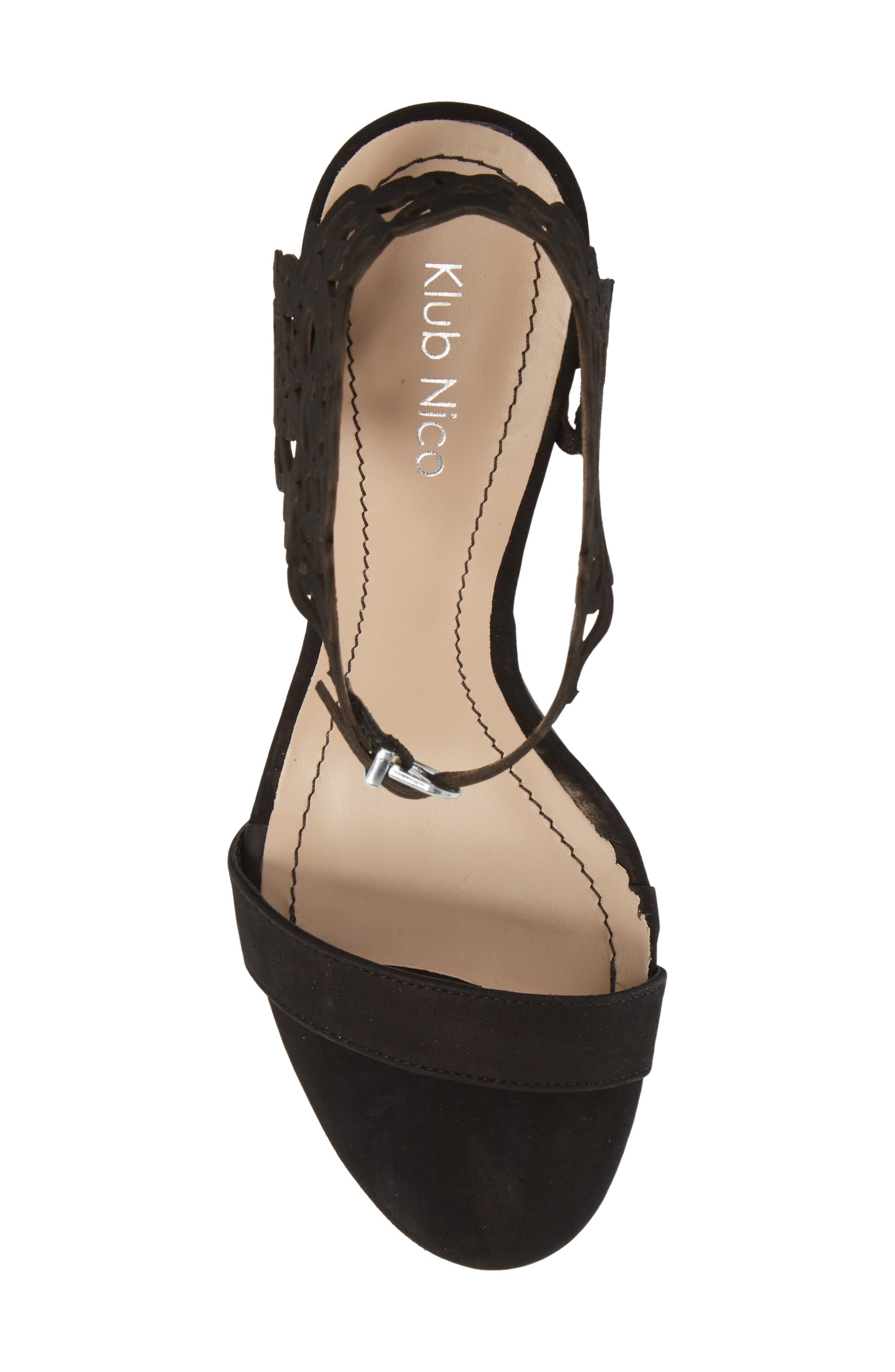 ,                             Adira Laser Cut Sandal,                             Alternate thumbnail 5, color,                             BLACK LEATHER