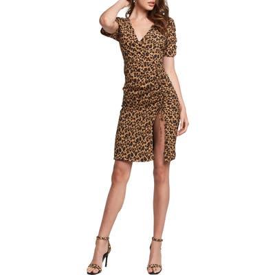 Bardot Nicola Leopard Print Side Slit Ruched Dress, Brown