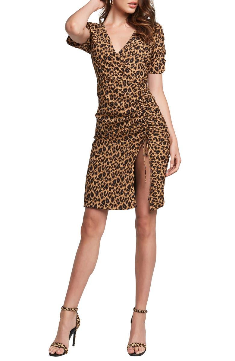 BARDOT Nicola Leopard Print Side Slit Ruched Dress, Main, color, LEOPARD