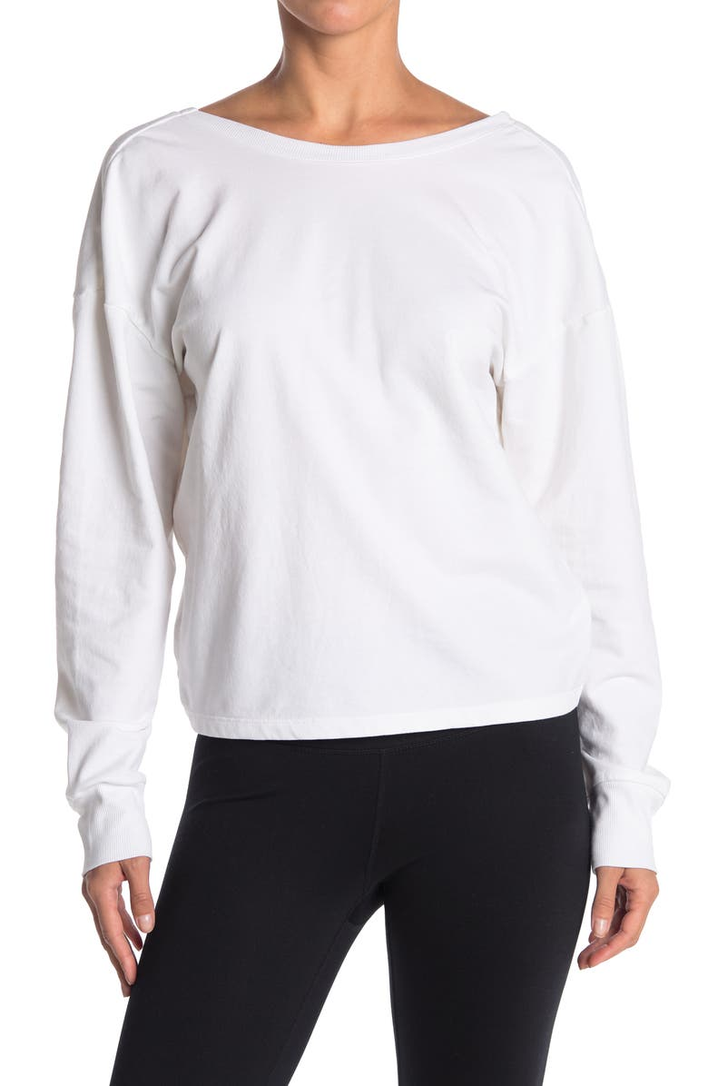 Z BY ZELLA Revolved Twist Back Pullover, Main, color, WHITE