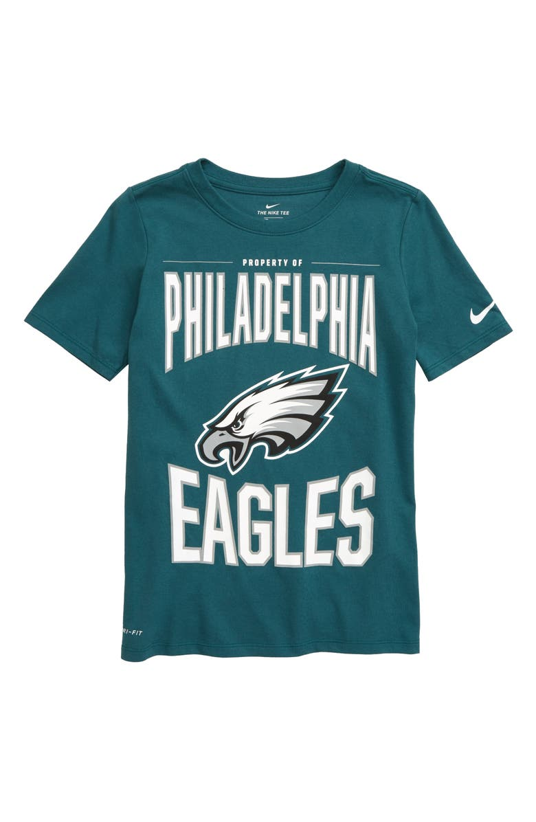 NIKE NFL Logo Property of Philadelphia Eagles Dri-FIT T-Shirt, Main, color, SPORT TEAL