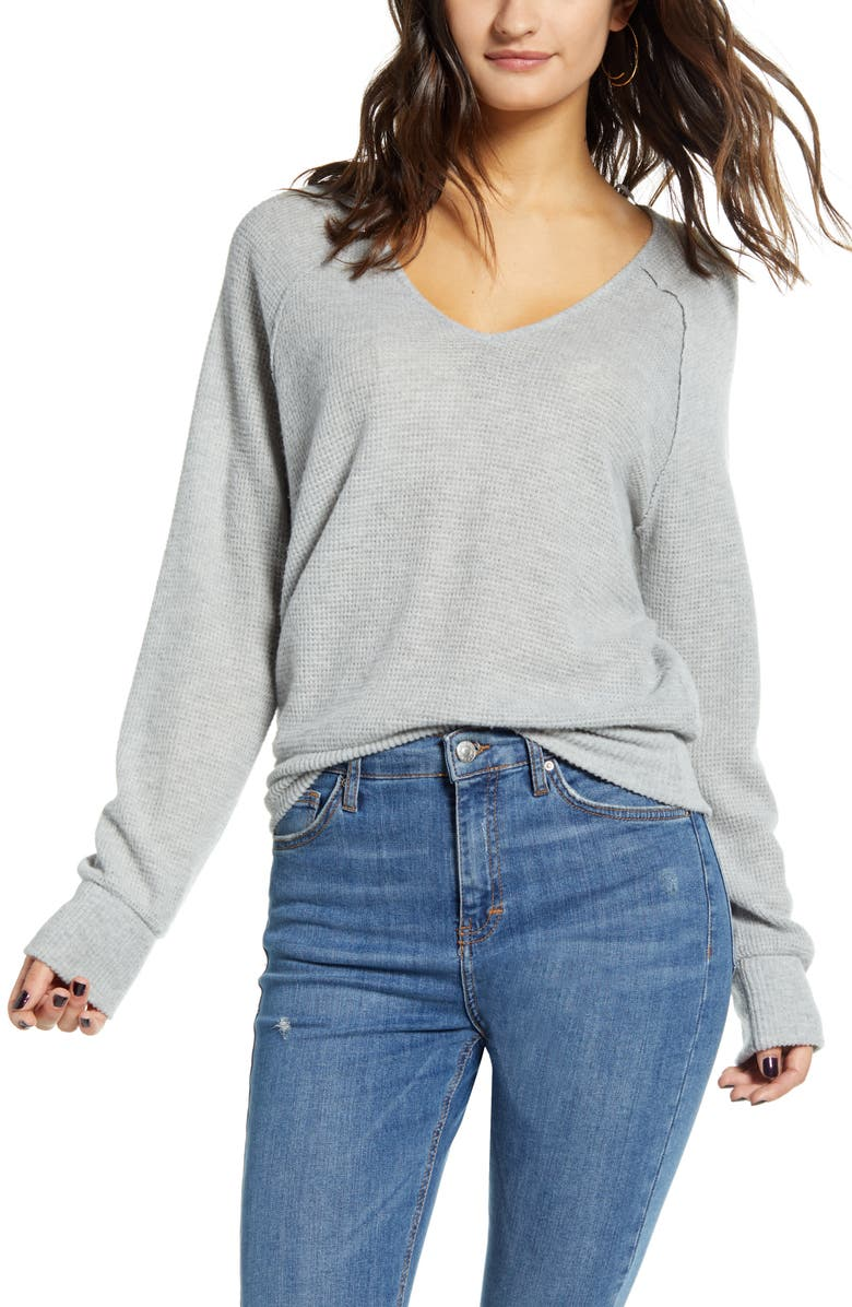 SOCIALITE Raglan Sleeve Thermal Top, Main, color, HEATHER GREY