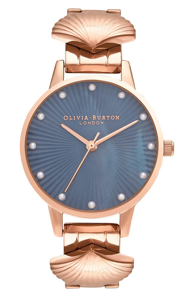 OLIVIA BURTON Mermaid Bracelet Watch, 30mm, Main, color, ROSE GOLD/ BLUE MOP