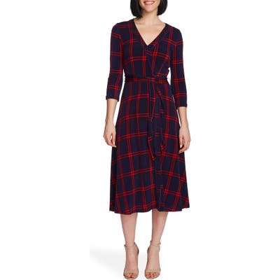 Chaus Plaid Wrap Dress, Blue