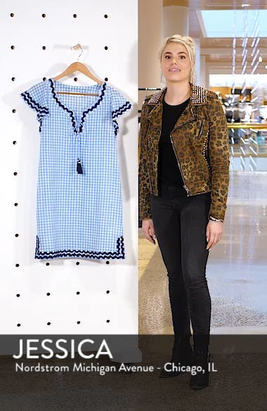 Gingham Ruffle Sleeve Embroidered Shift Dress, sales video thumbnail