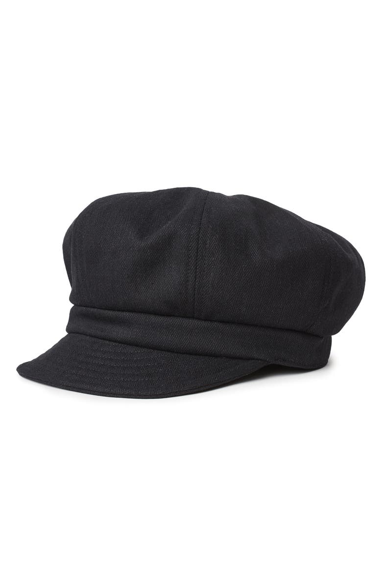 BRIXTON Montreal Un Herringbone Baker Boy Cap, Main, color, BLACK/ BLACK