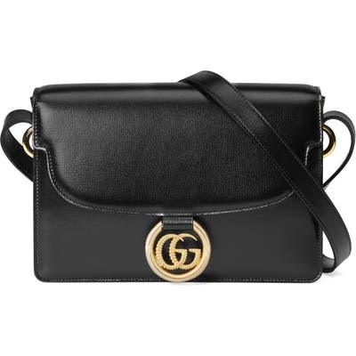 Gucci Small Gg Ring Leather Shoulder Bag - Black