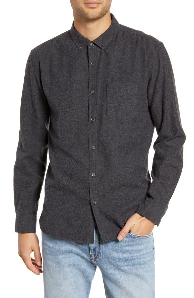 BLDWN Hansen Regular Fit Button-Down Flannel Shirt, Main, color, CHARCOAL