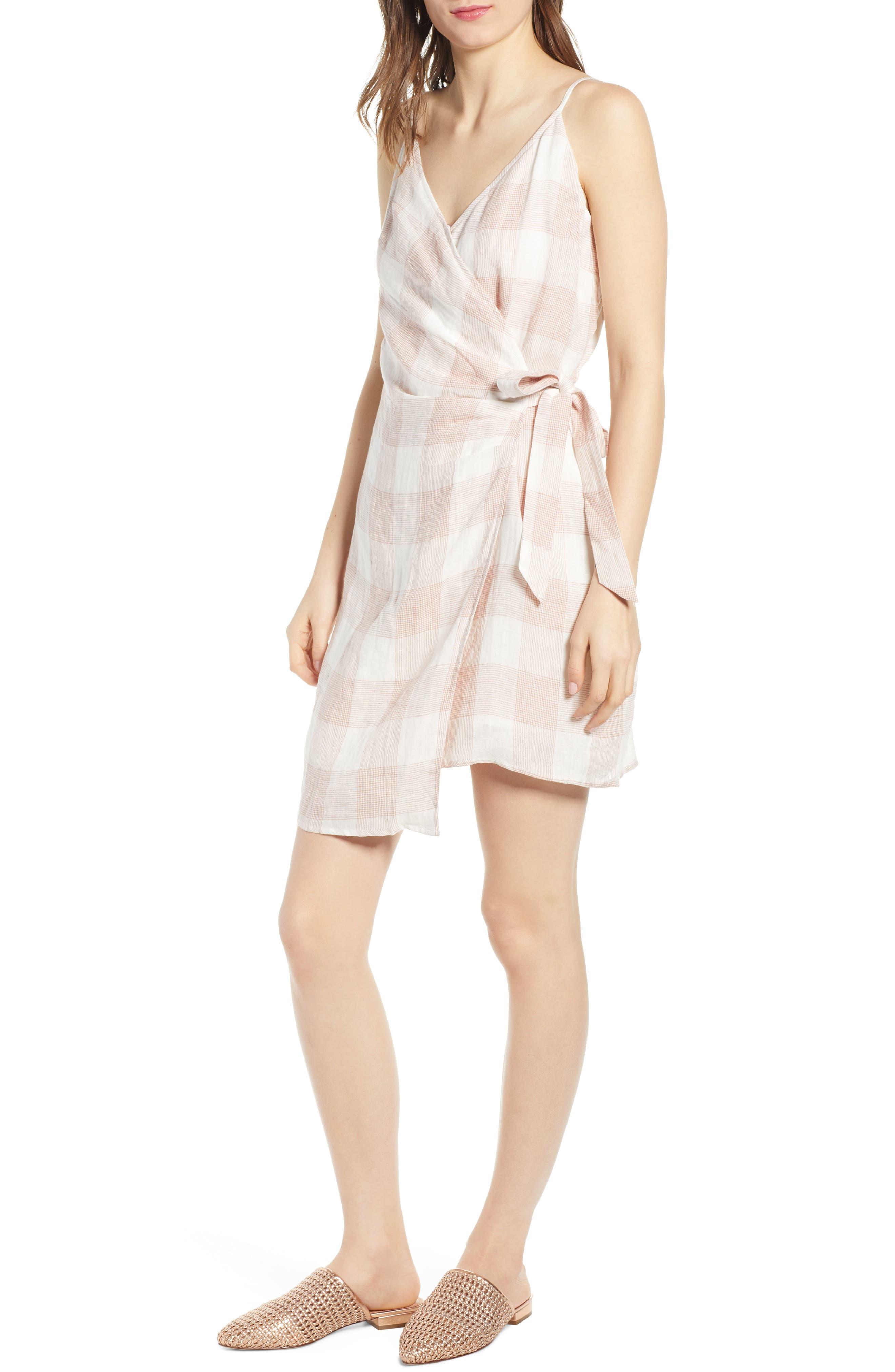 Whyatt Check Wrap Dress, Main, color, CHECK