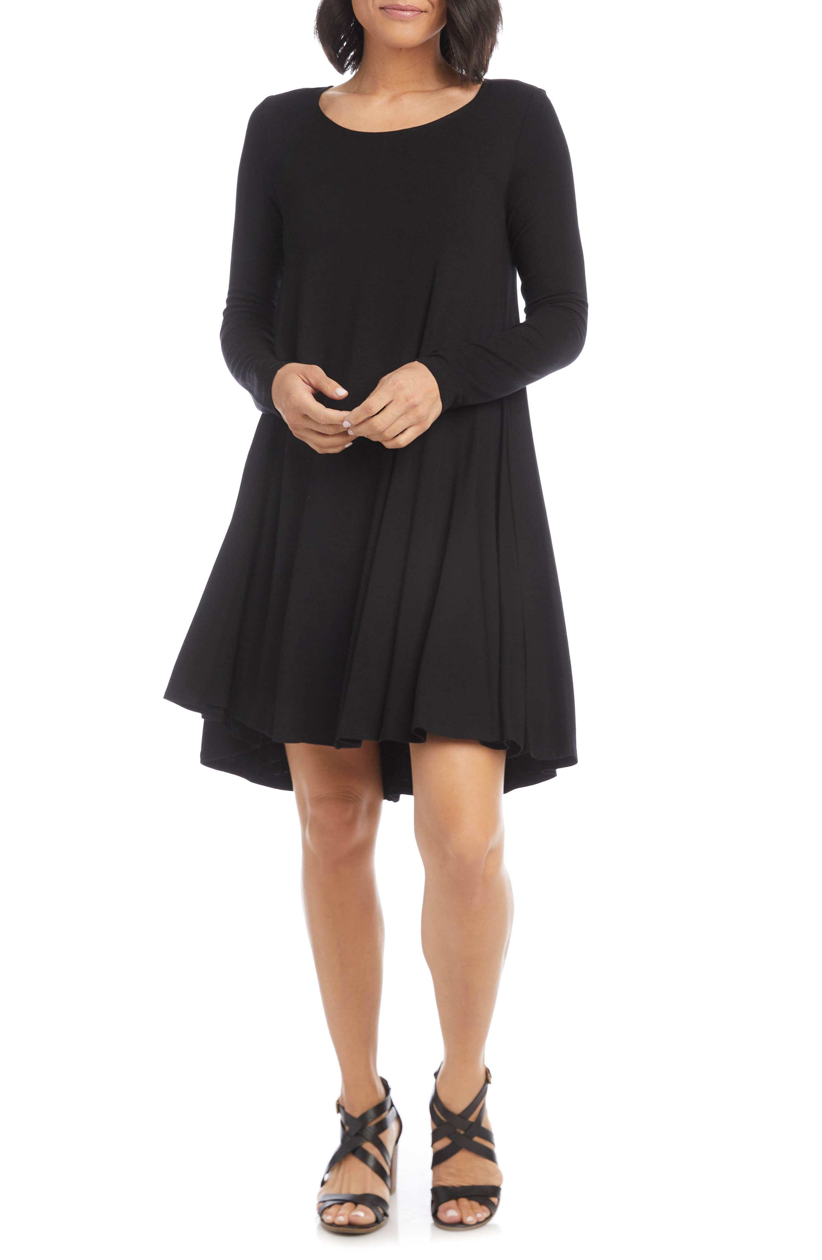 Maggie Long Sleeve Jersey Trapeze Dress