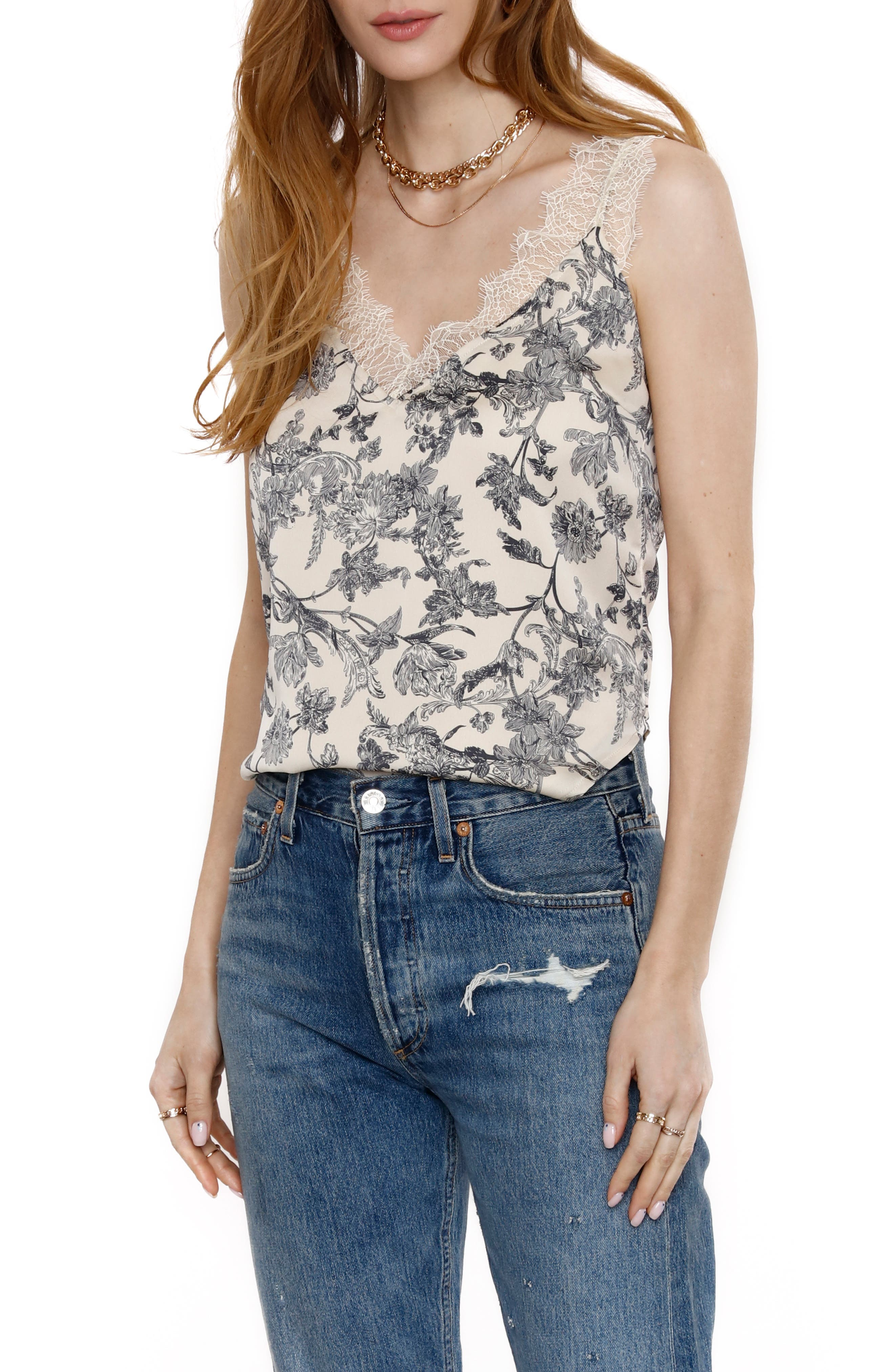 Toile Lace Neck Tank Top