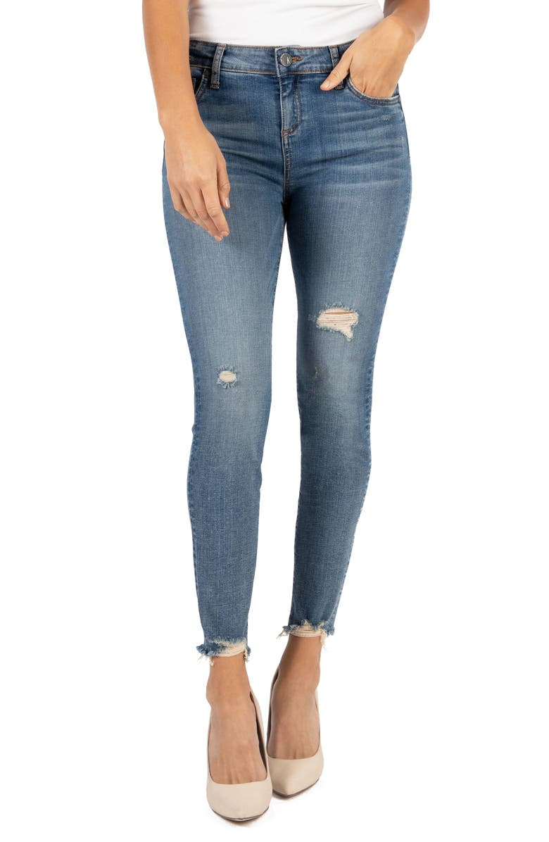 KUT FROM THE KLOTH Connie High Waist Destroyed Hem Ankle Skinny Jeans, Main, color, WILLPOWER