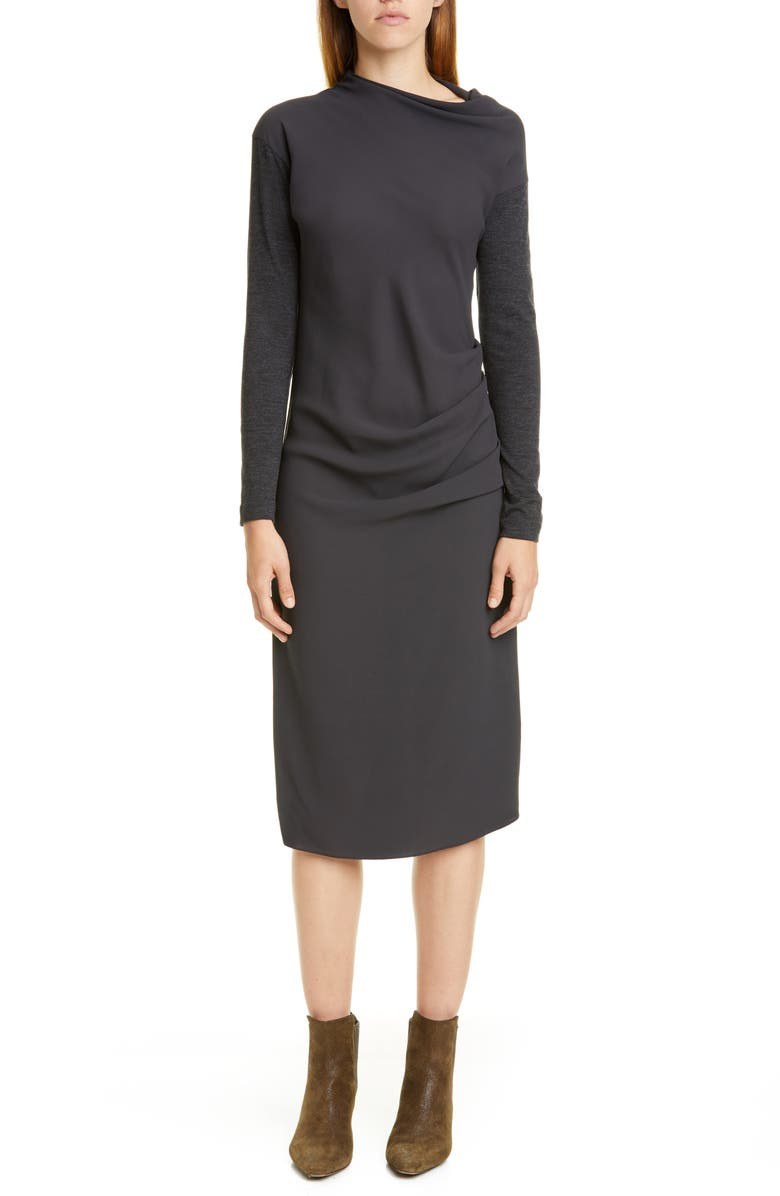 BRUNELLO CUCINELLI Gathered Mixed Media Long Sleeve Midi Dress, Main, color, ANTHRACITE