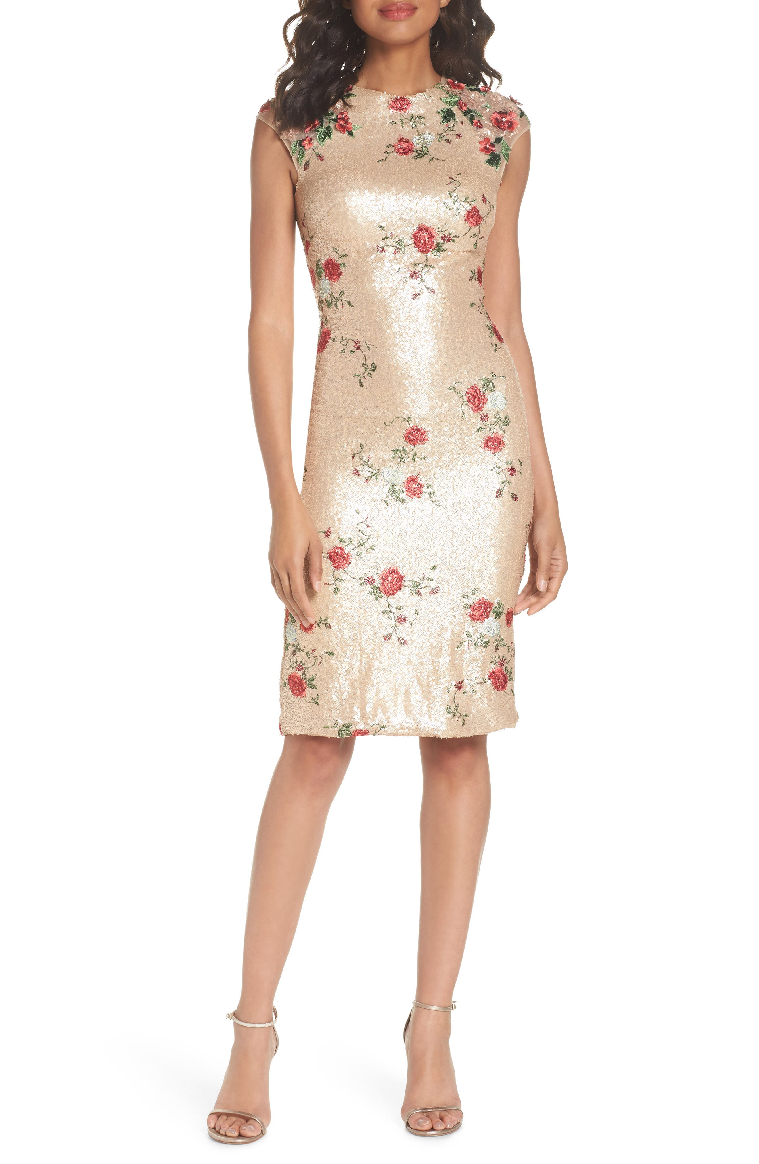 Sequin & Embroidery Sheath Dress, Main, color, CHAMPAGNE ROSE