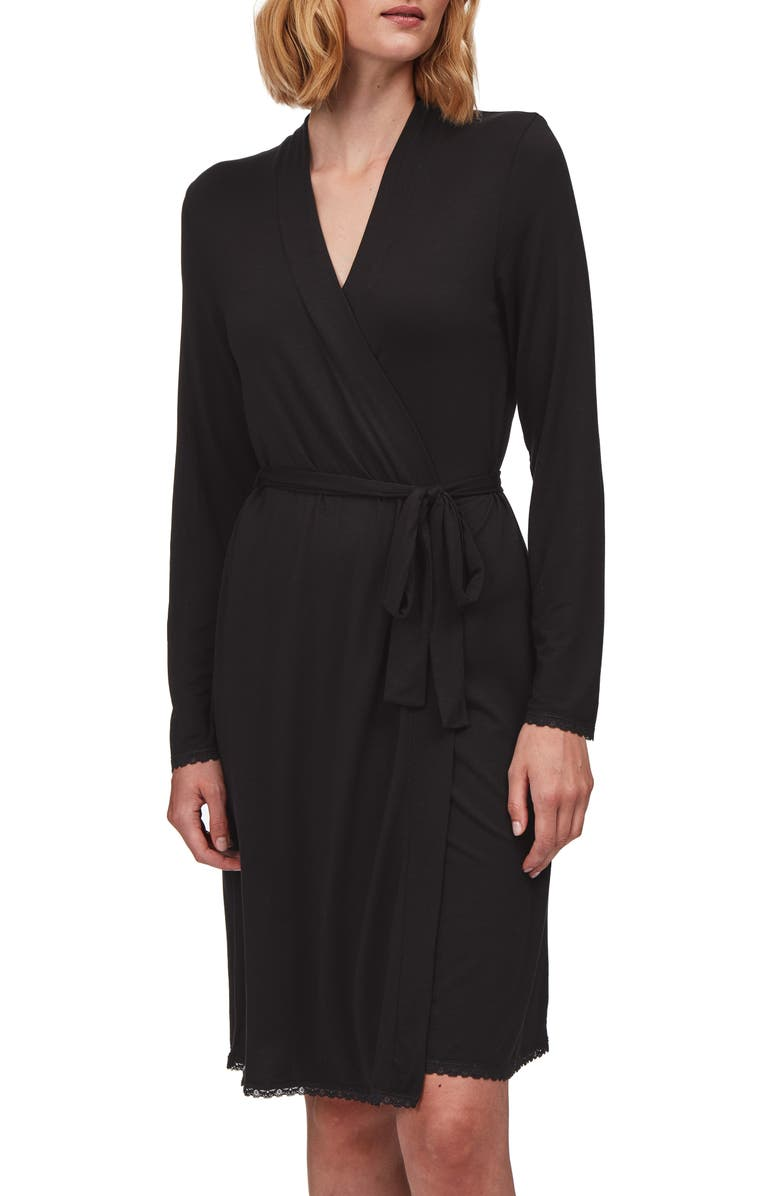THE WHITE COMPANY Lace Trim Robe, Main, color, BLACK