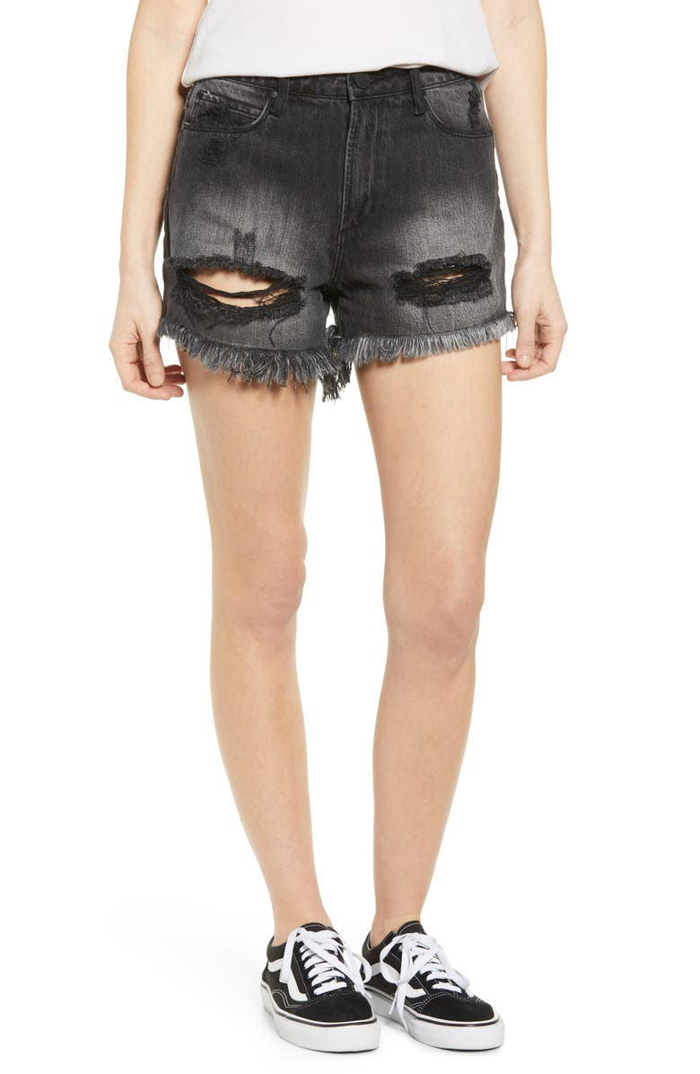 ARTICLES OF SOCIETY Meredith Ripped Denim Shorts, Main, color, CASTRIES WASHED BLACK