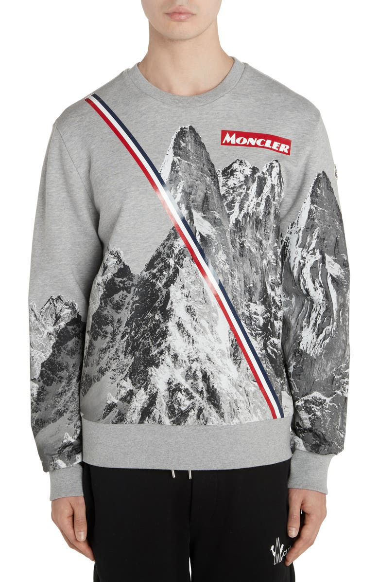 MONCLER Mountain Print Crewneck Sweatshirt, Main, color, LIGHT GREY