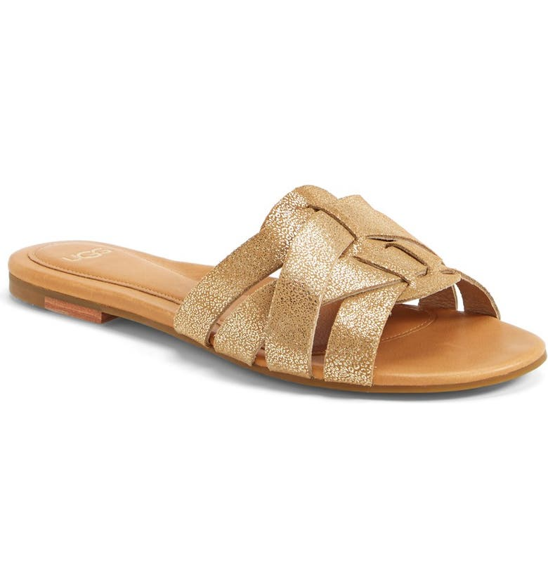 UGG<SUP>®</SUP> Australia 'Chanez' Metallic Leather Slide Sandal, Main, color, 710