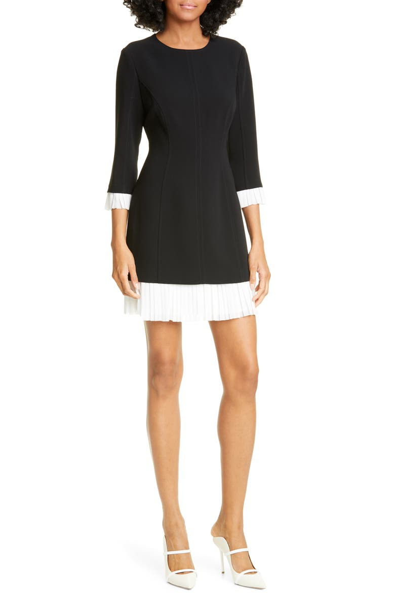 CINQ À SEPT Catriona Contrast Trim Minidress, Main, color, BLACK/ IVORY
