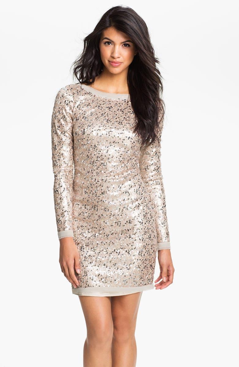 ELIZA J Long Sleeve V-Back Sequin Sheath Dress, Main, color, 256