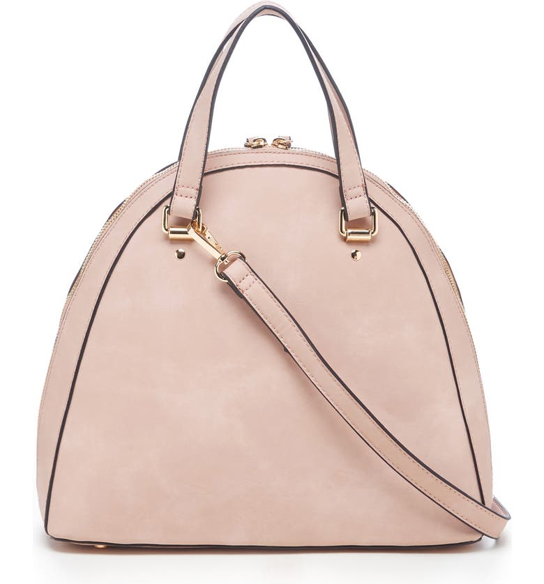 SOLE SOCIETY Dwani Faux Leather Satchel, Main, color, OYSTER PINK