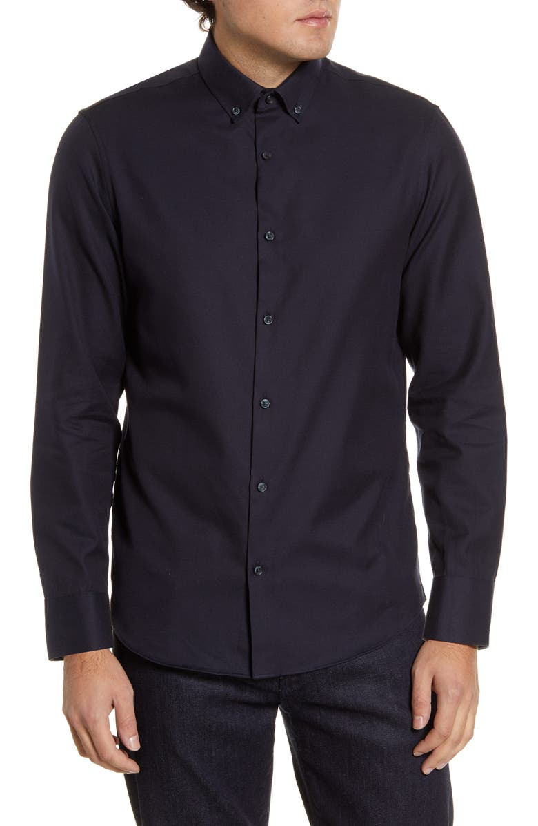 CALIBRATE Slim Fit Blue Button-Down Shirt, Main, color, NAVY BLAZER TWILL