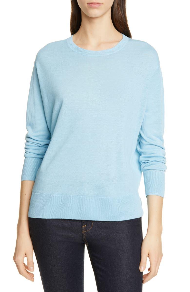NORDSTROM SIGNATURE Linen Blend Sweater, Main, color, BLUE BREATH