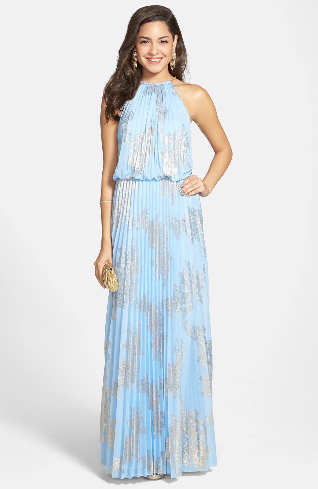 ,                             Foiled Pleated Jersey Blouson Dress,                             Main thumbnail 18, color,                             450