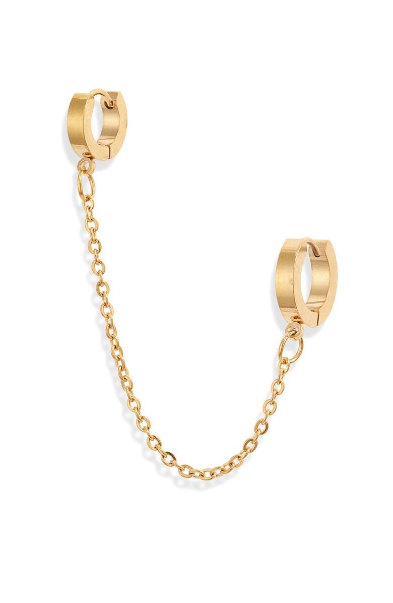 ELLIE VAIL Viola Double Huggie Hoop Earring, Main, color, GOLD