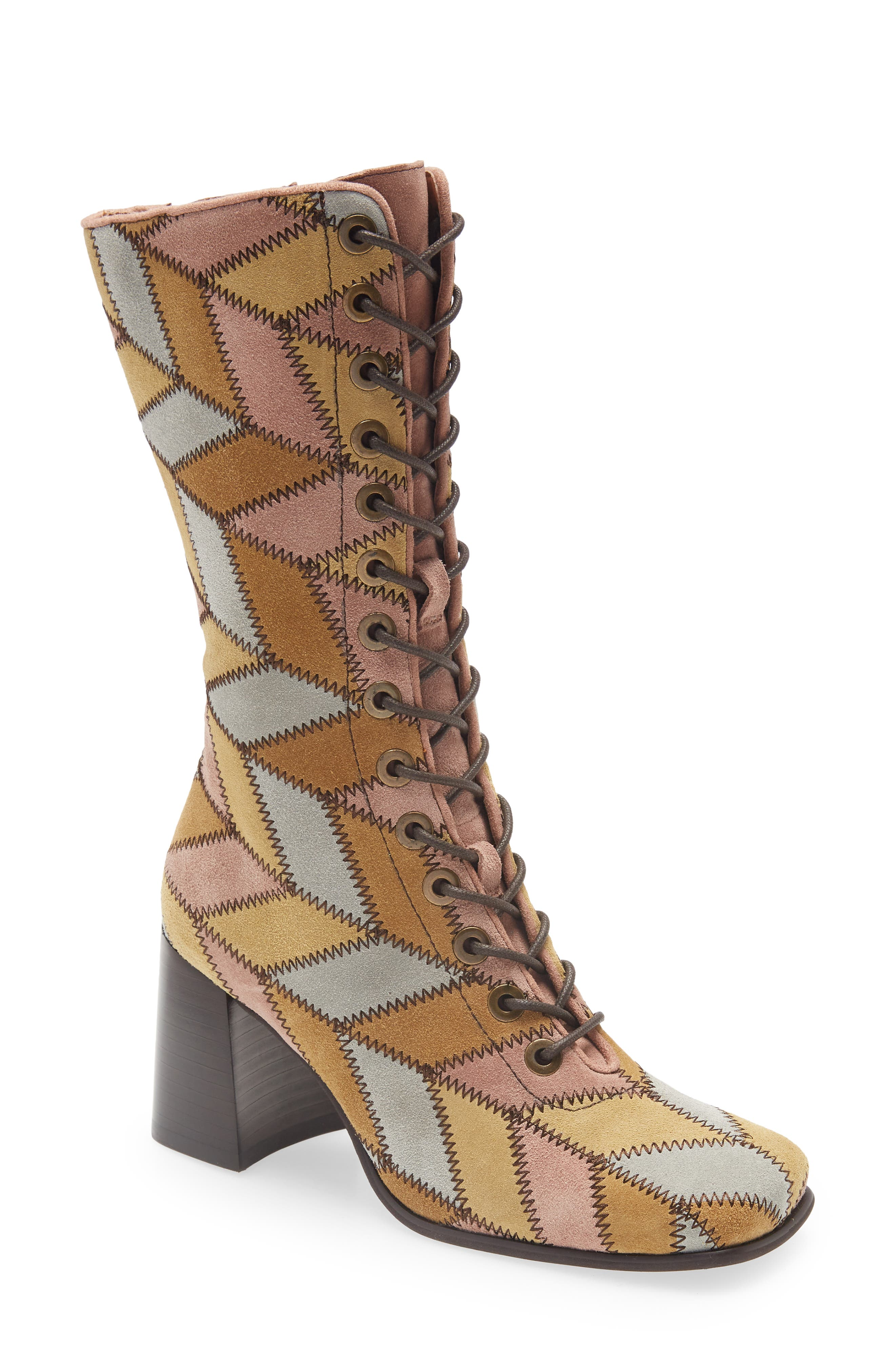 70s Clothes | Hippie Clothes & Outfits Jeffrey Campbell Hunts Lace-Up Boot Size 8.5 in Light Suede Multi at Nordstrom $349.95 AT vintagedancer.com